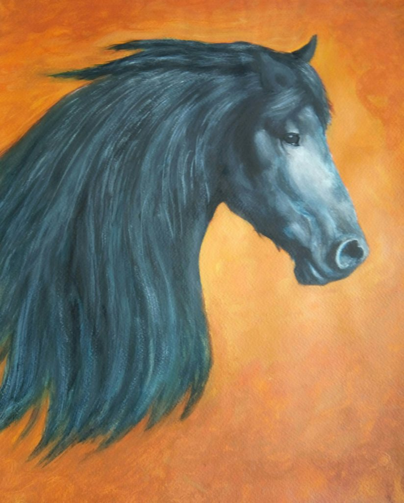 Painting of black horse's head and neck