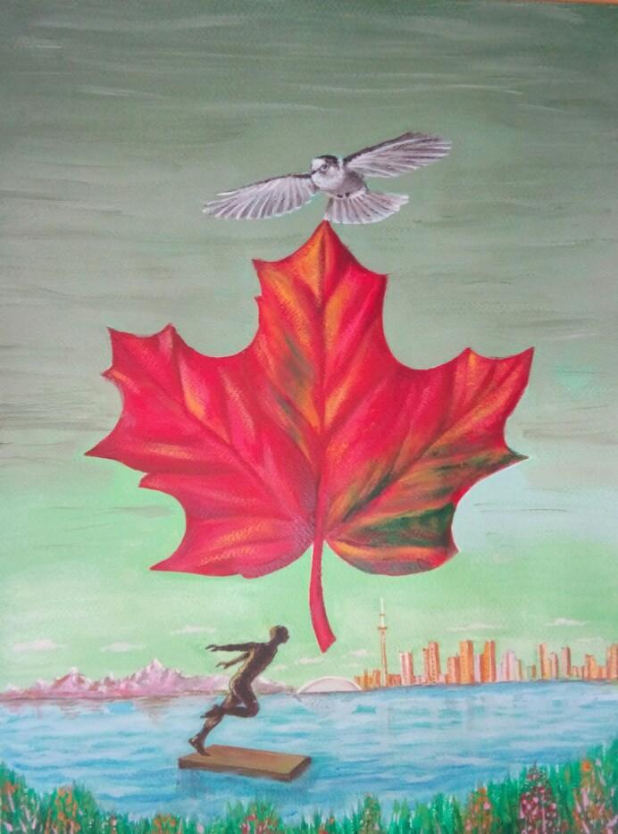A symbolic representation of Canada ... a dove, a maple leaf, a surfer