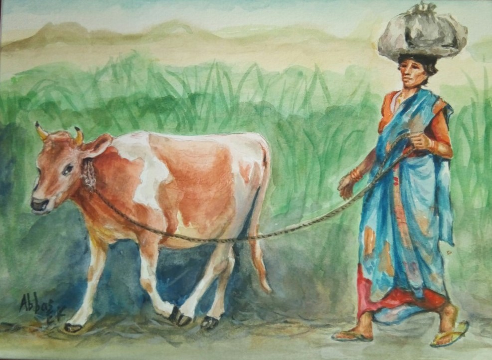 Painting of a farming lady with a cow