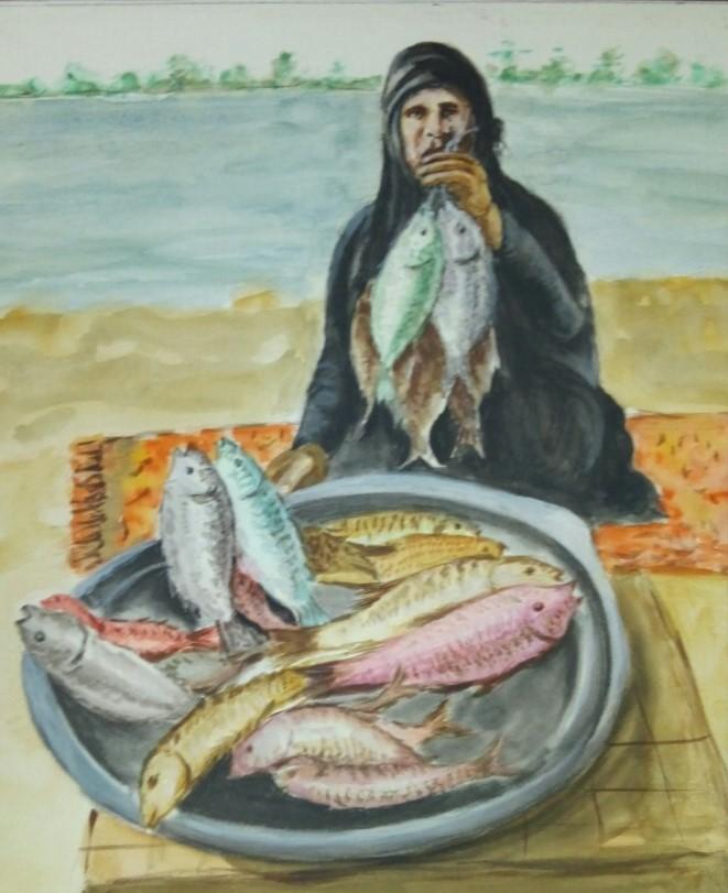 Portrait of a lady fishmonger