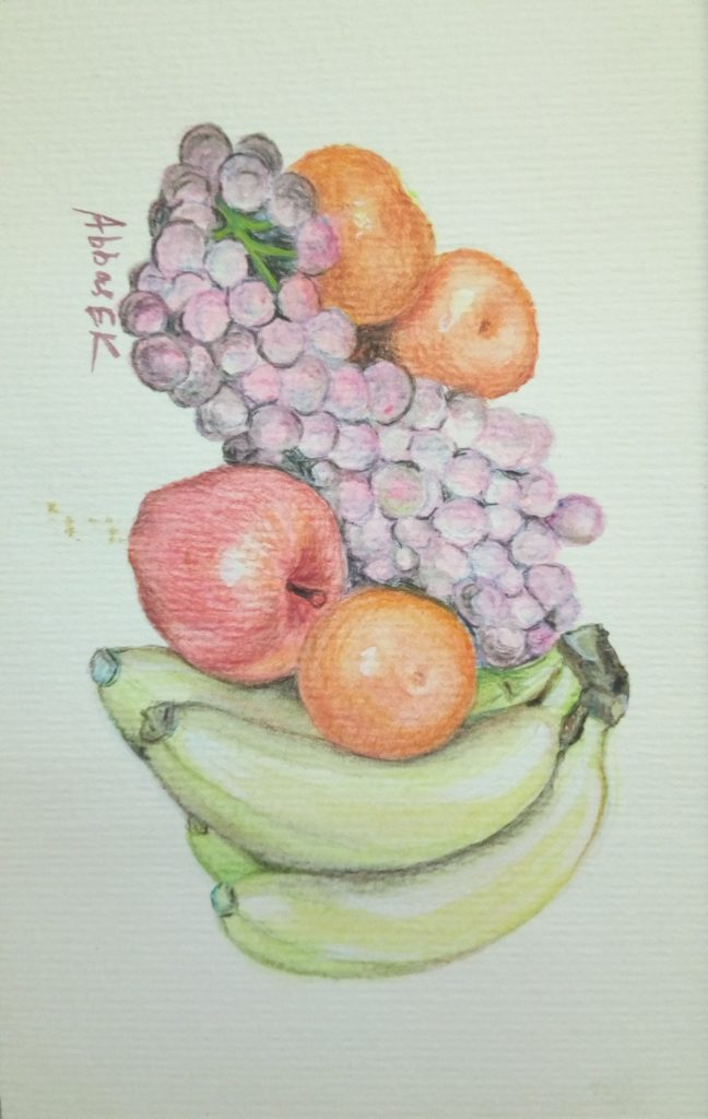 Still life study of a collection of fruit