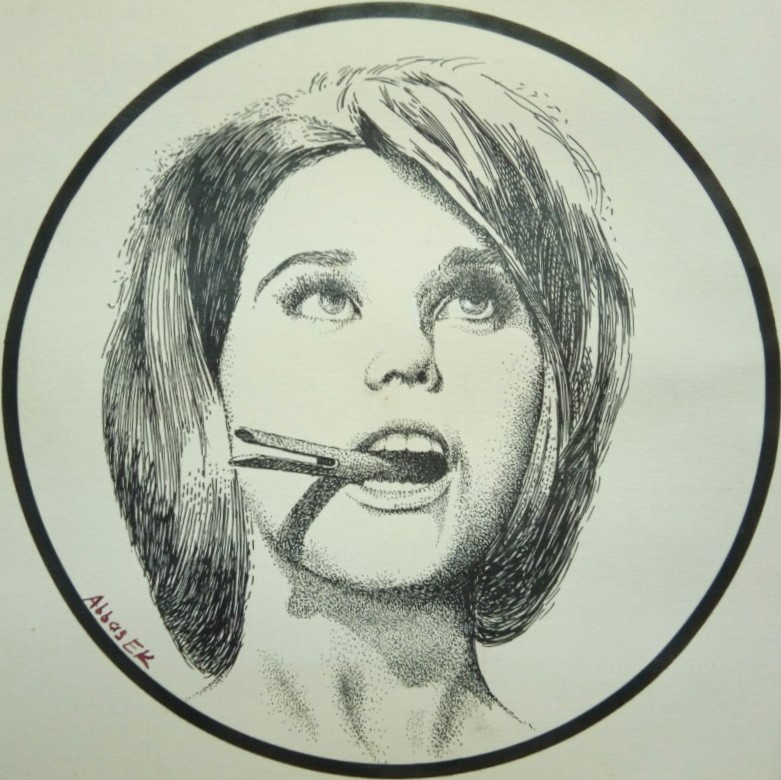 Portrait in black ink of girl hold a clip in her mouth