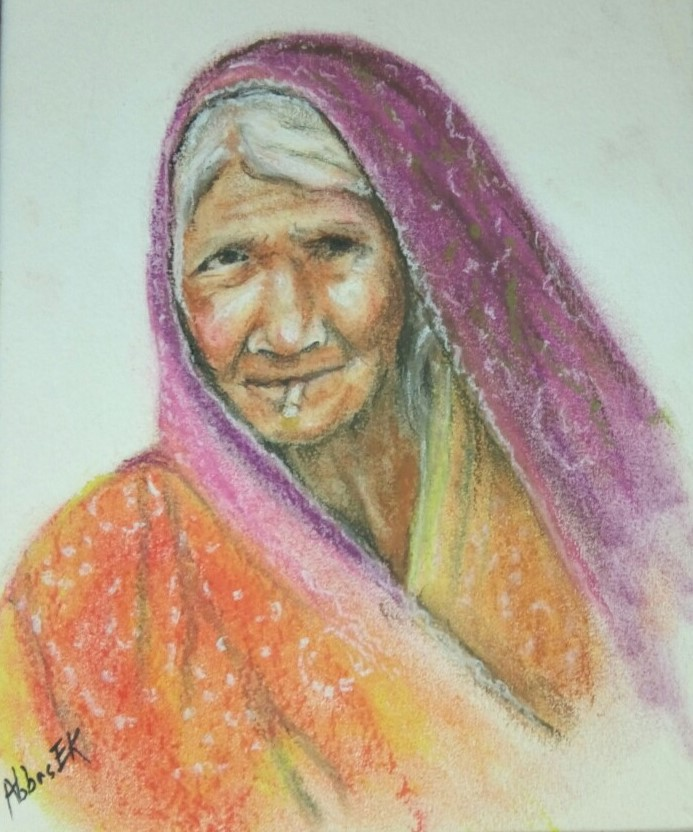 Portrait of a grandmother wearing a shawl