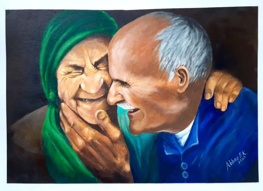 Portrait of old married couple expressing their love on St Valentine's Day