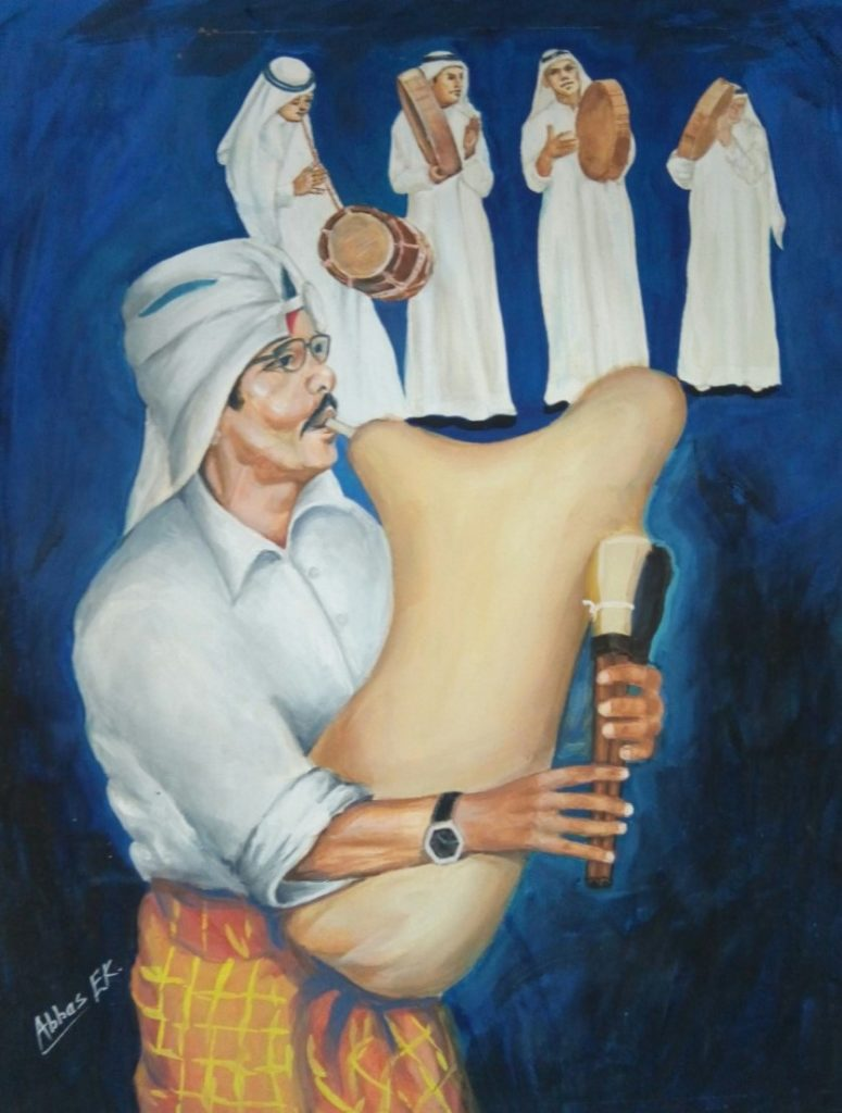 Group study of five Kuwaiti musicians playing Arabic bagpipes, a drum and tambourines