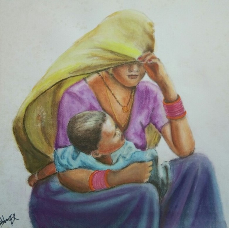 Portrait of a mother with her child on her lap