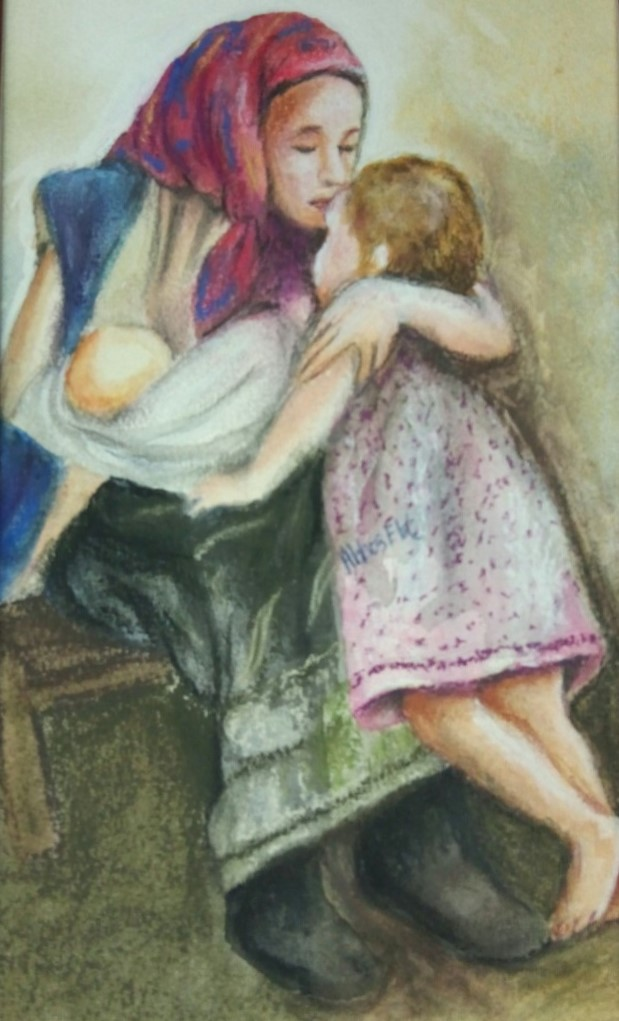 Figures of Mother holding baby and kissing child
