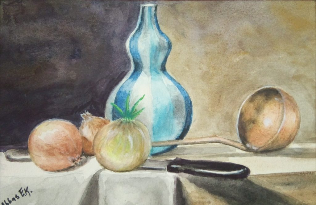 Still life study of some onions and a jar
