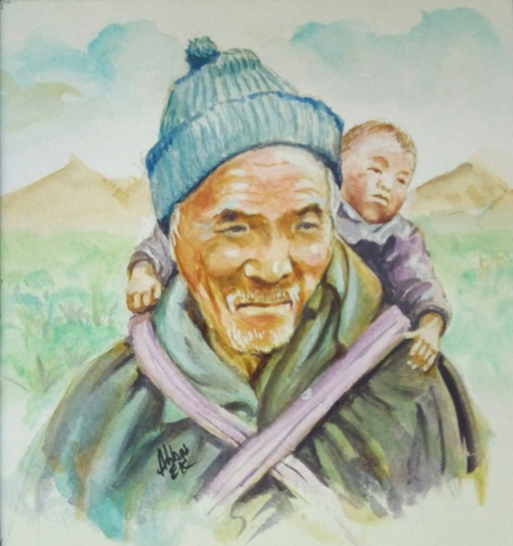 Portrait of a Sherpa with an infant on his back ready to climb a mountain
