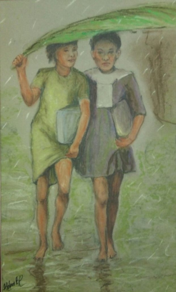 A painting of two sisters walking with school books in the rain holding a large palm leaf as an umbrella