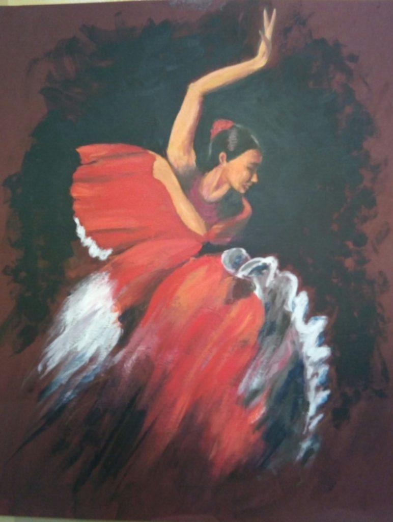 Figure of a Spanish Dancer in full flight