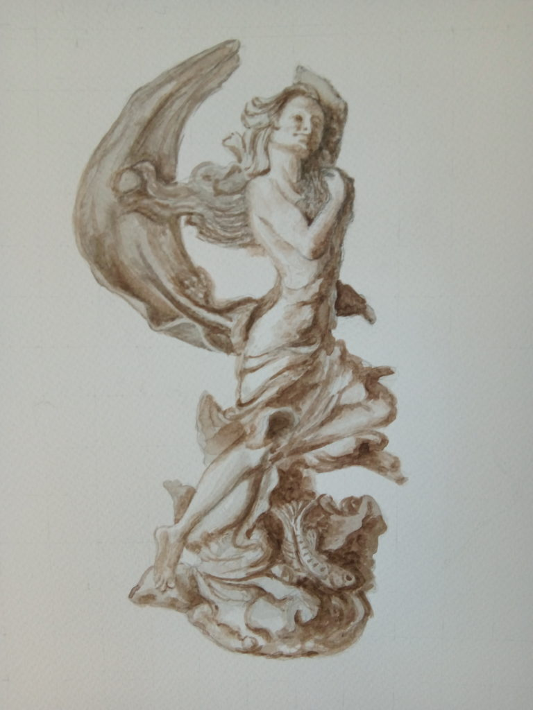 Greyscale painting of a statue of Venus