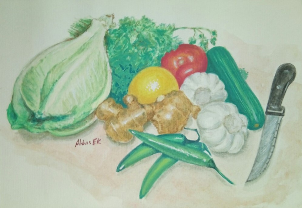Still life of vegetables and knife ready for chopping