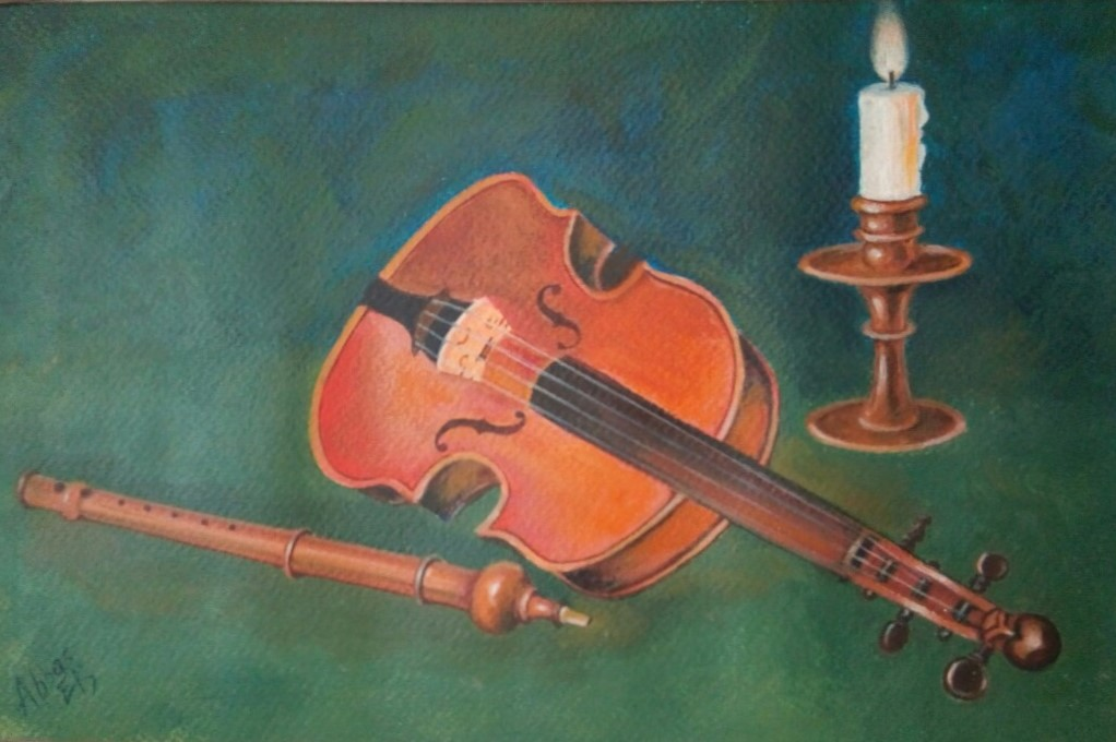 Still-life of violin, candle and flute