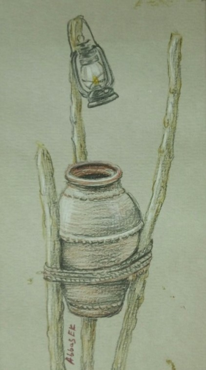 Still-life of a waterpot and lantern