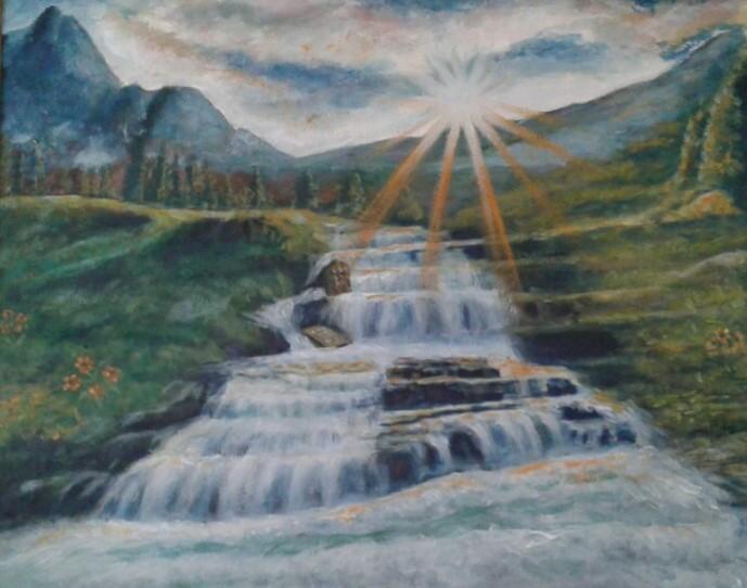 Landscape showing a long flowing waterfall